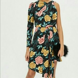 NWT Topshop Black Floral One Arm Dress US Size 4